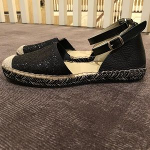 Black sequin toe Espadrilles